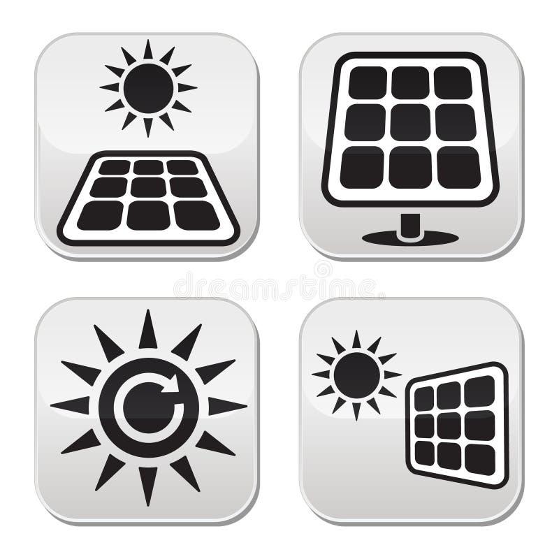 Solpaneler för vitknappar för sol- energi uppsättning stock illustrationer