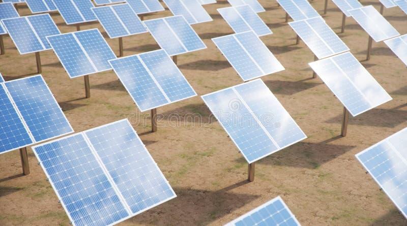 solpaneler f?r illustration 3D alternativ energi Begrepp av f?rnybara energik?llor Ekologisk ren energi panels sol- royaltyfria bilder