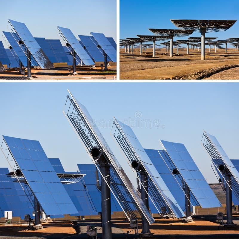 Solpaneler på ljus bakgrund för blå himmel. Förnybara energikällor arkivfoton