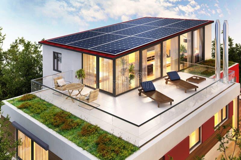 Solpaneler på taket av huset arkivbilder