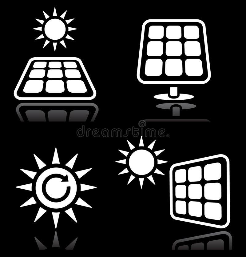 Solpaneler symboler för sol- energi ställde in på svart royaltyfri illustrationer