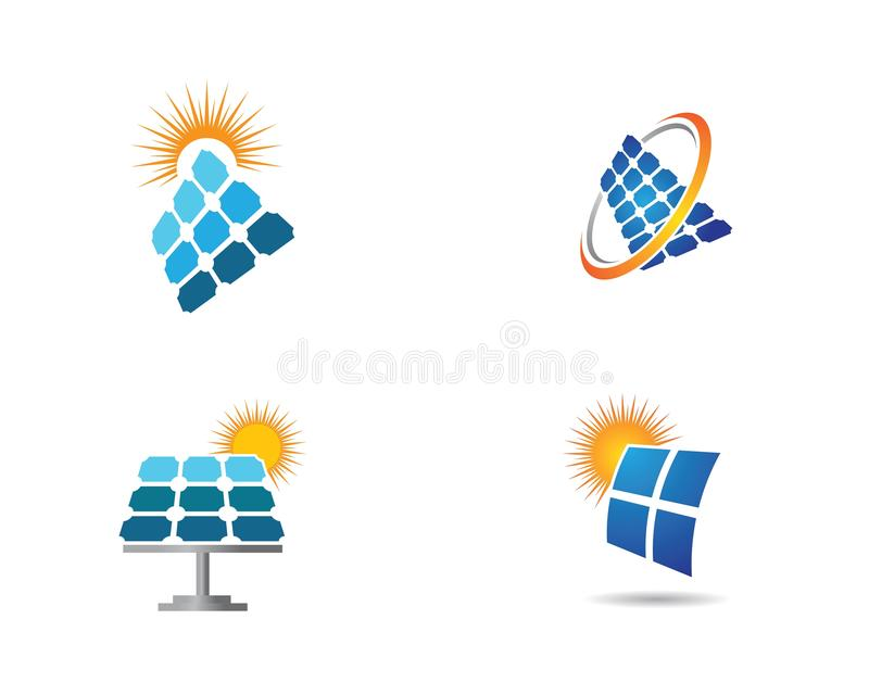 Solpanellogoillustration stock illustrationer