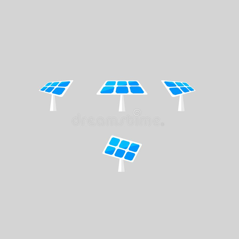 Solpanelvektorsymboler Sol- batteri i olika vinklar Uppsättning för vektordesignbeståndsdelar för dig design stock illustrationer
