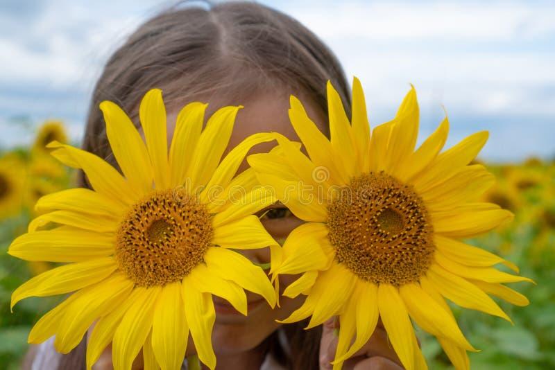 Solrosögon Förtjusande liten flicka som rymmer solrosor i ögon som kikare i trädgården arkivbilder
