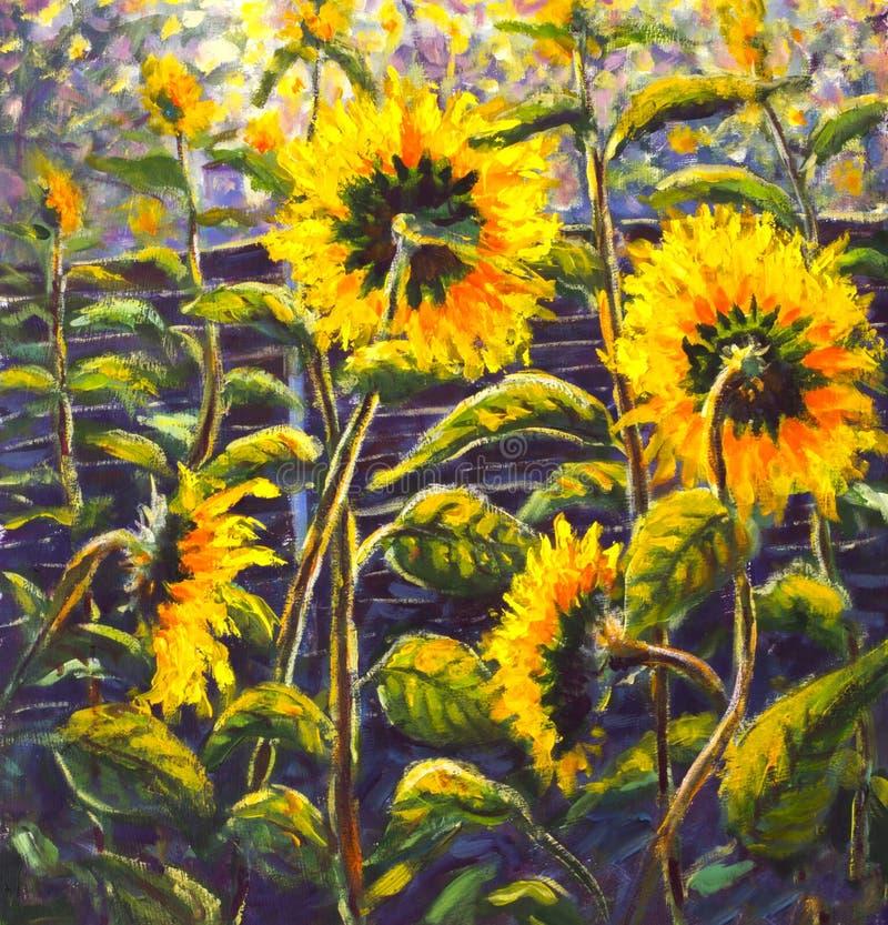 Solrosakryl, olje- målning som original- handpainted konst av solrosen blommar, härliga guld- solrosor i sol, blommar på kanfas royaltyfria foton