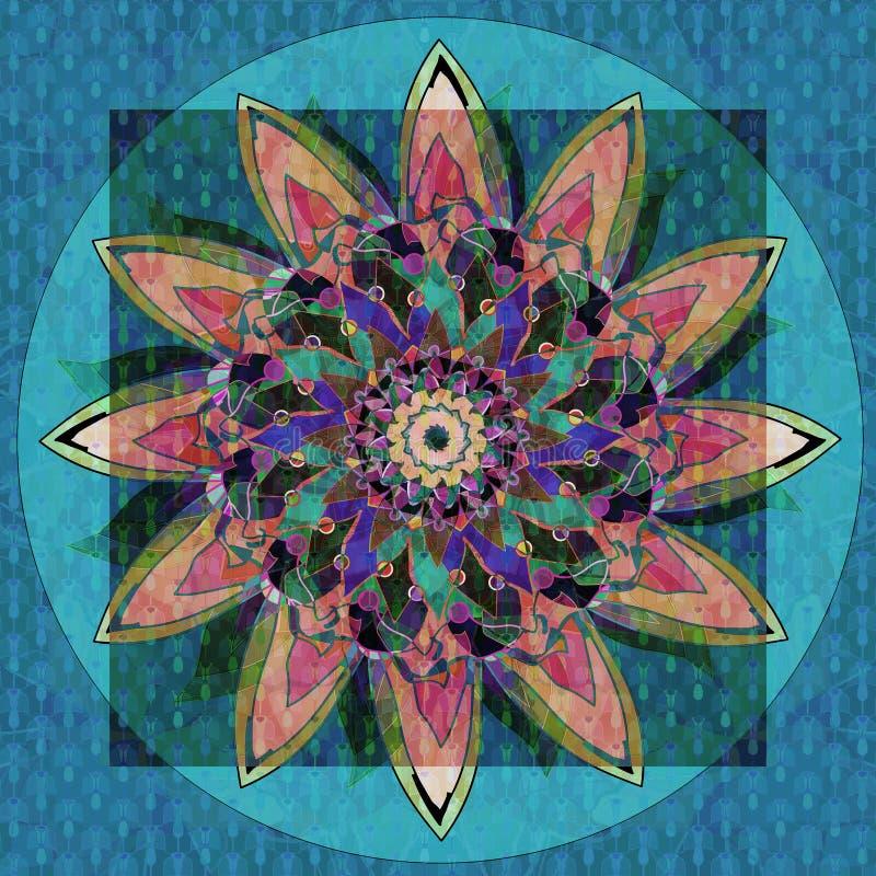 SOLROSMANDALA Texturerad design abstrakt bakgrundsbluelampa CENTRAL BLOMMA I GRÖNT, ORANGE, RÖTT, BLÅTT, TURKOS, SVART royaltyfri illustrationer