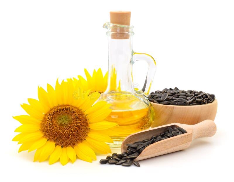 Solrosolja, fr? och blomma royaltyfria foton