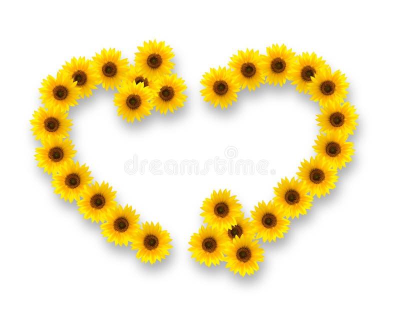 Solrosor i form av hjärta- och återvinningsymbolet royaltyfri illustrationer