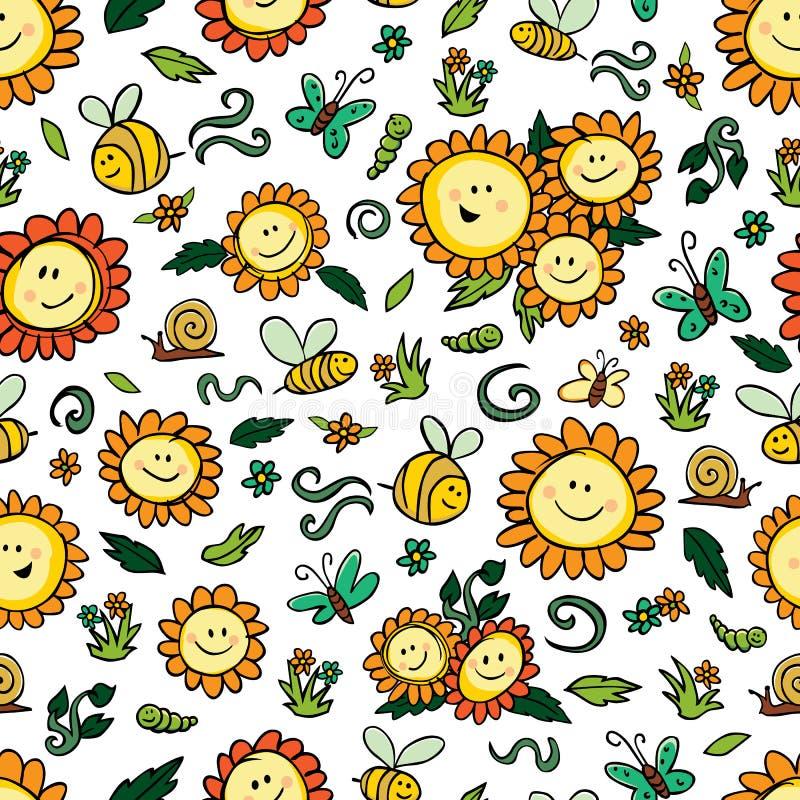 Solrosor och bin för vektor upprepar färgrika modellen med vit bakgrund Passande för gåvasjal, textil och tapet vektor illustrationer