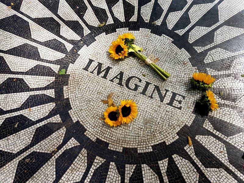 Solrosor på Central Park föreställer mosaiken - New York, USA royaltyfri foto
