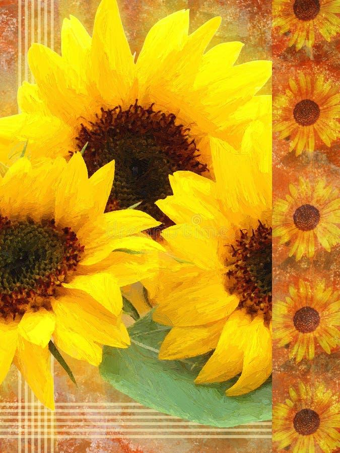 Solrosor som målas på kanfas royaltyfri foto