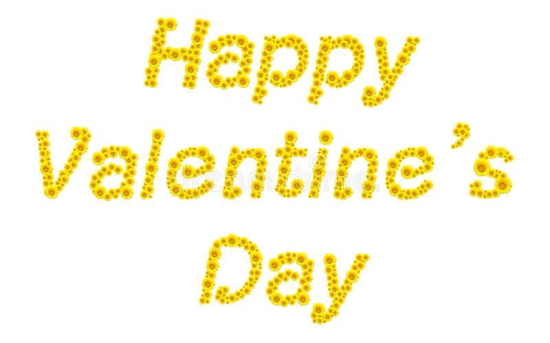 Solrosor som sorteras in i ord om valentin dagen royaltyfria foton