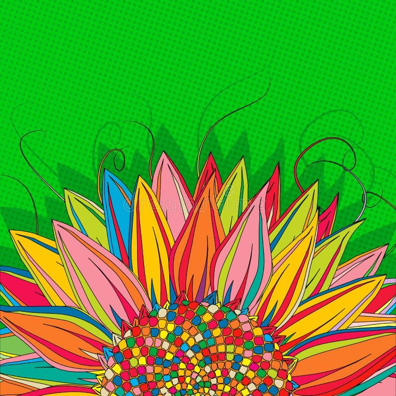 Solrospopkonst royaltyfri illustrationer