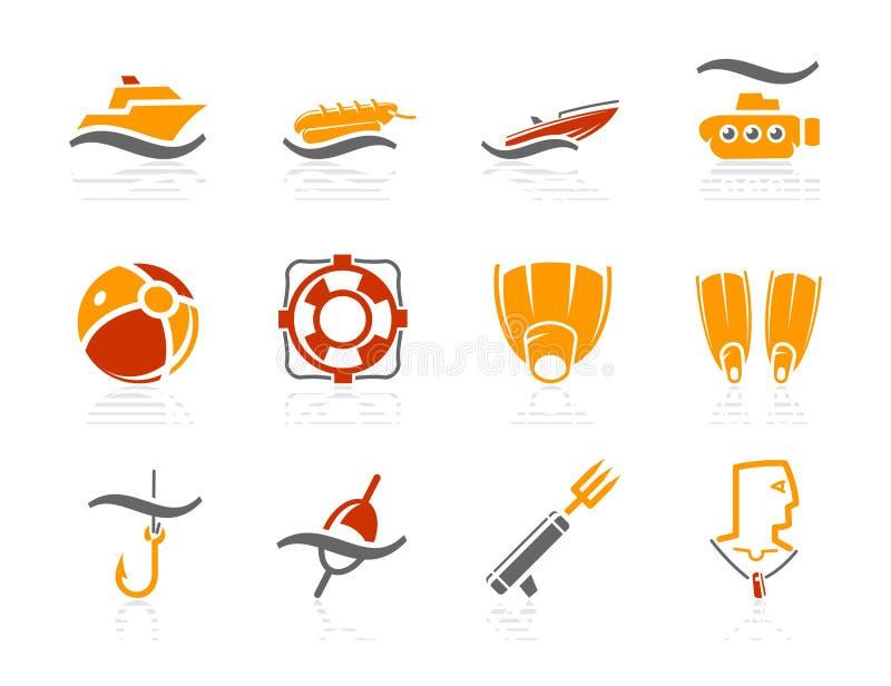 solsken för hav för symboler för ho för stranddykningfiske royaltyfri illustrationer