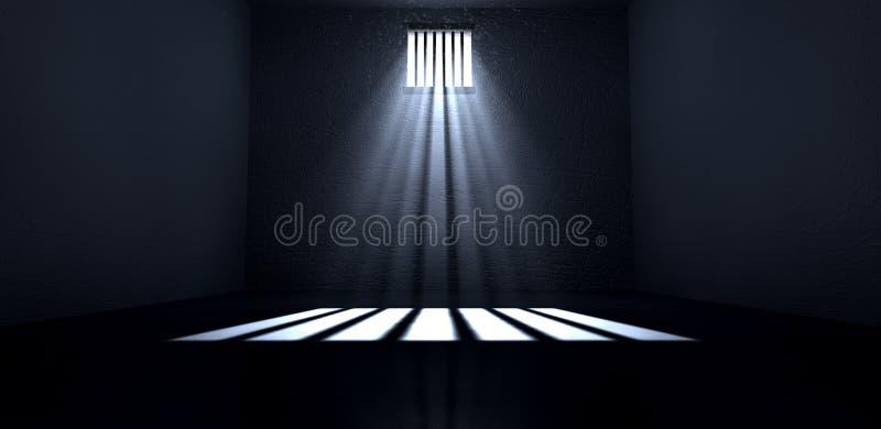 Solsken som skiner i fönster för fängelsecell stock illustrationer