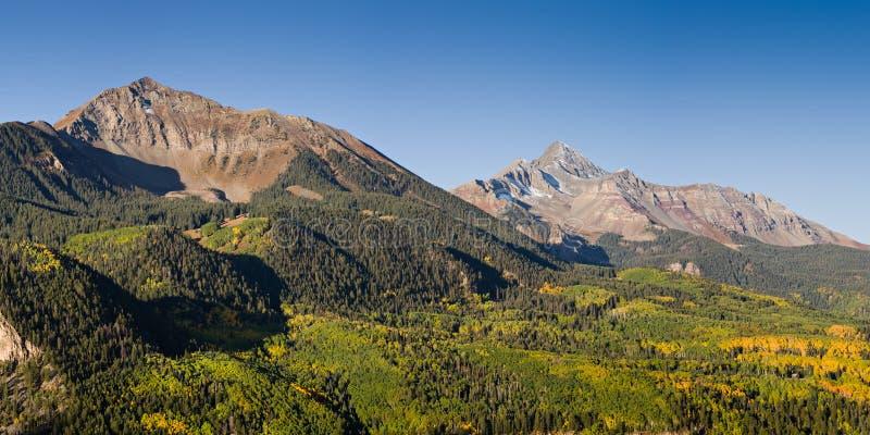 Solskenberg och Wilson Peak - Colorado Rocky Mountain Autu royaltyfri bild