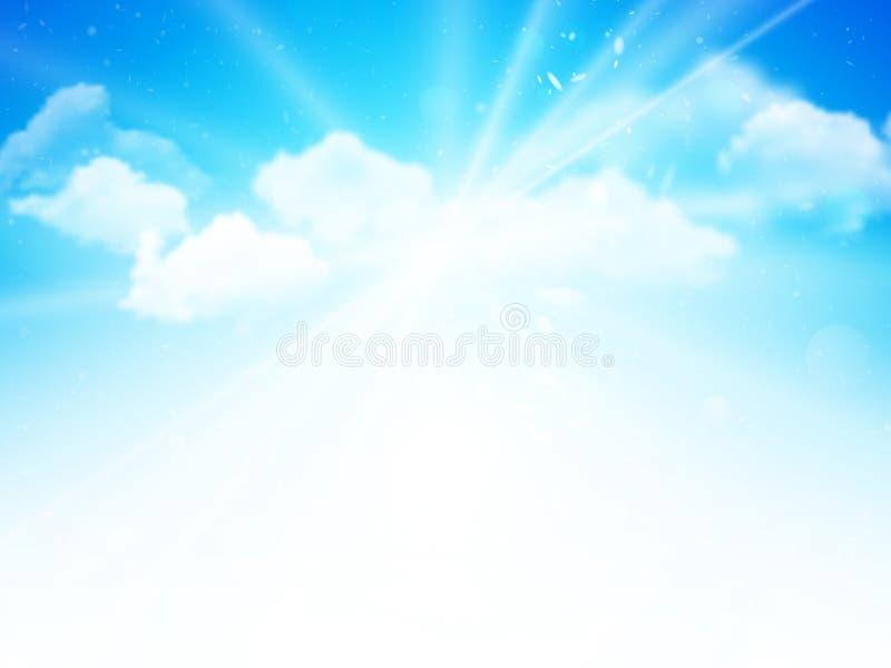 Solskenhimmel, abstrakt begreppblått fördunklar bakgrund royaltyfri illustrationer