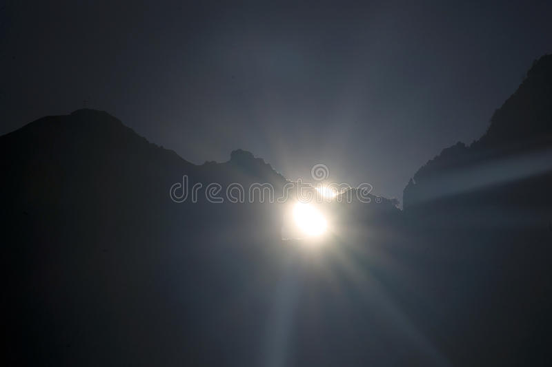 Solstice Mount Forato. On the day of the solstice Mount Forato Apuan Alps Tuscan Italy stock photo