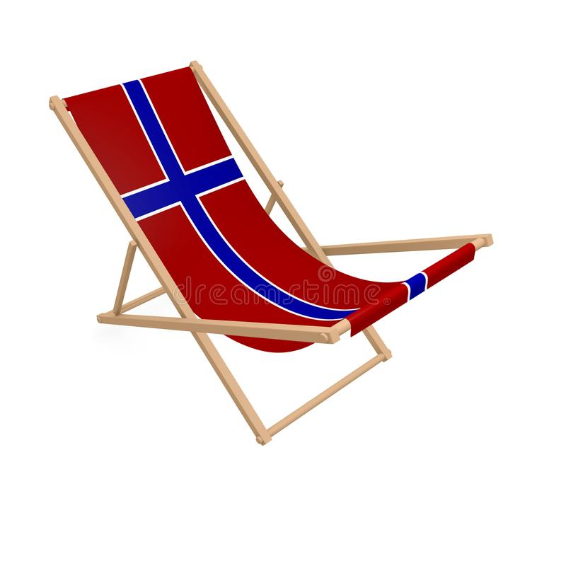 Solstol med flaggan eller Norge royaltyfri illustrationer