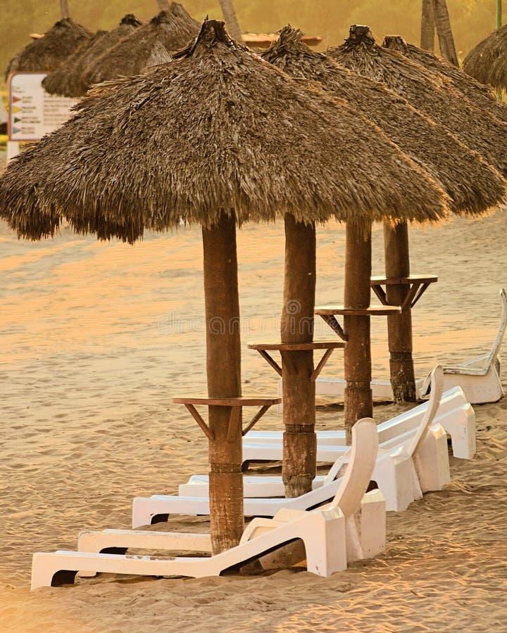 Solstolar och kojor på stranden av en semesterort i Mexico royaltyfri foto