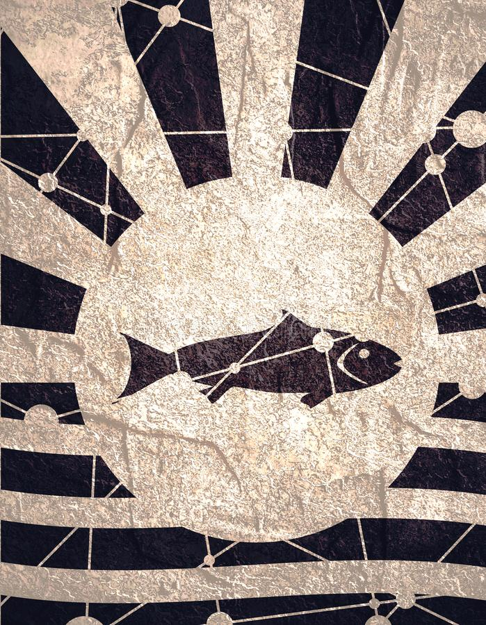 Solstrålbakgrund med fisksymbolen royaltyfri bild