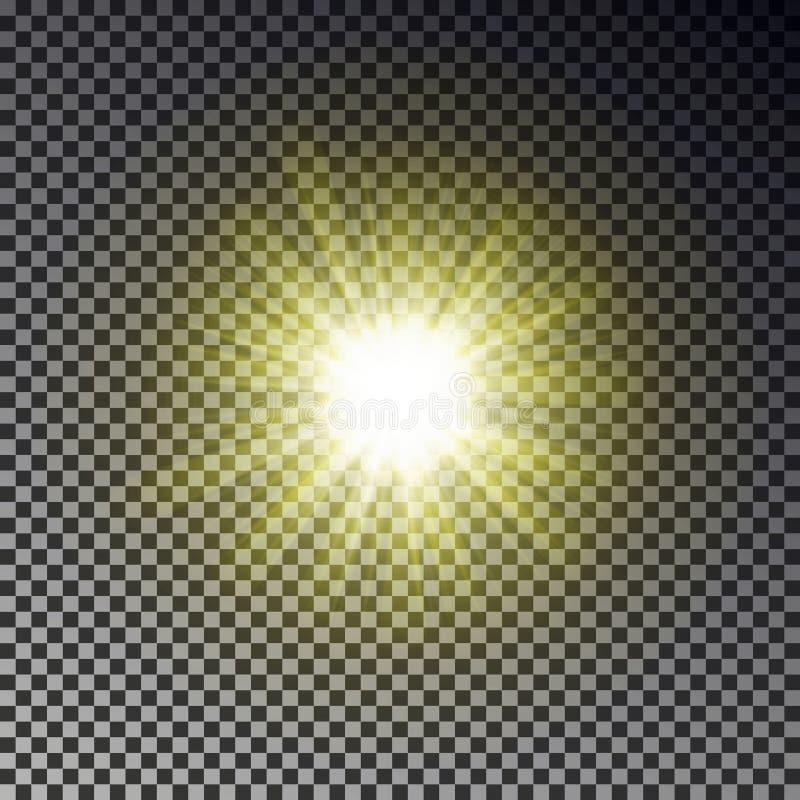 Solstrålljus som isoleras på rutig bakgrund Genomskinlig effekt för himmel för glödgulingsolljus realist royaltyfri illustrationer