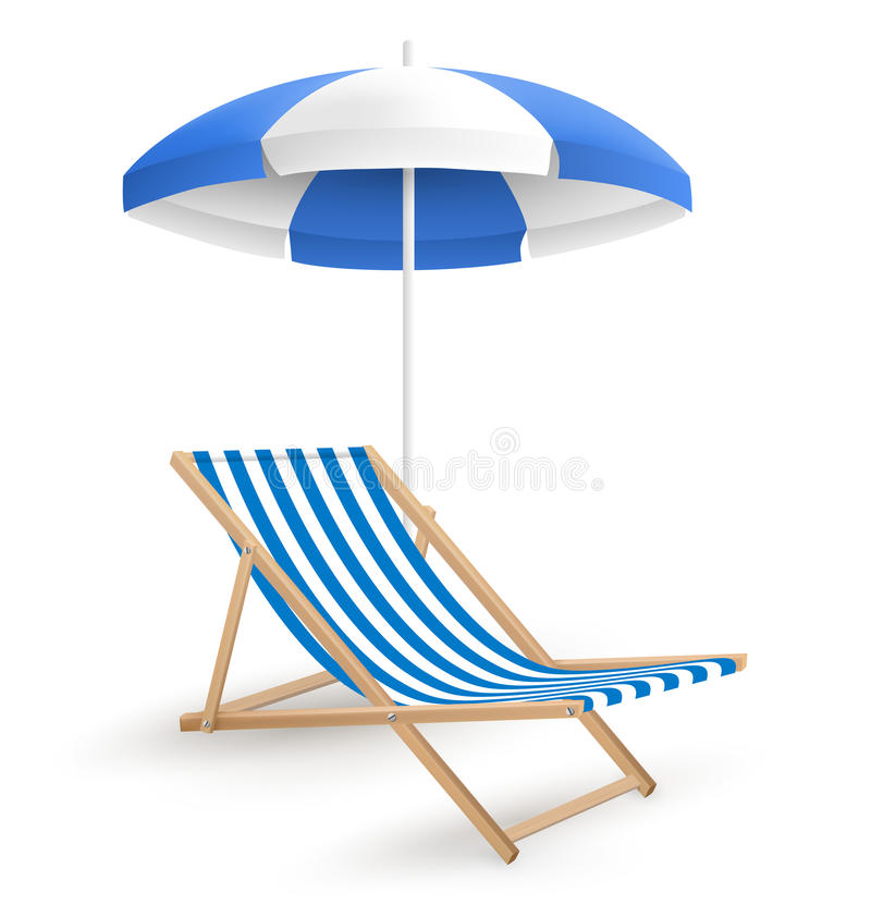 Solstrandparaply med strandstol på vit arkivfoto