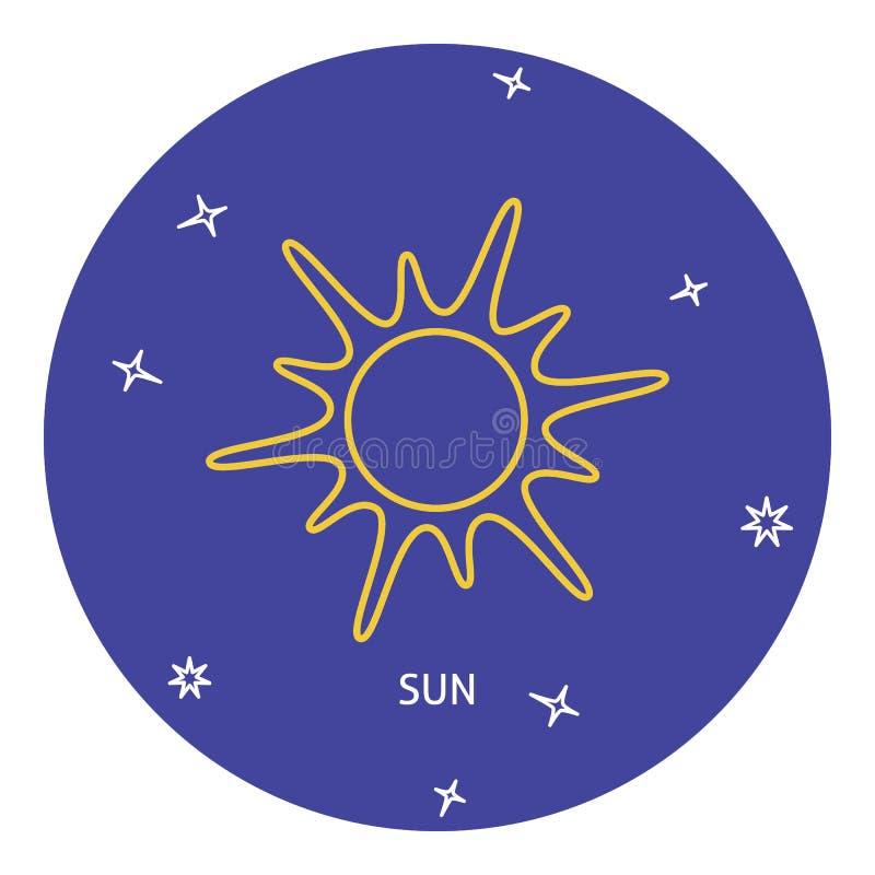 Solsymbol i den tunna linjen stil stock illustrationer