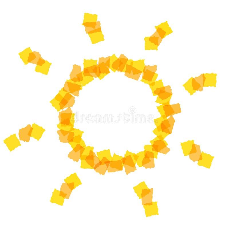 Solsymbol med små stycken stock illustrationer