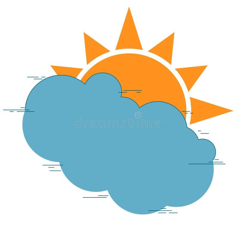 Solsymbol med strålar och moln Vektorillustration av en logo för väderprognos och ett symbol av molnigt väder vektor illustrationer