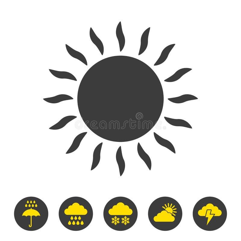 solsymbol på vit bakgrund royaltyfri illustrationer