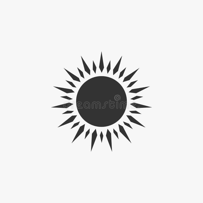 Solsymbol som är varm, ljus, ljusstyrka, dag stock illustrationer