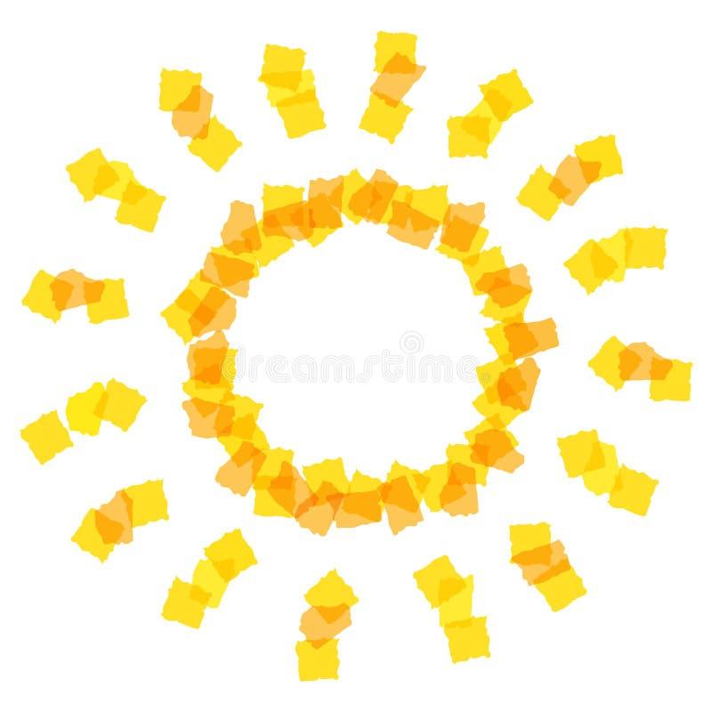 Solsymbol som göras av orange stycken royaltyfri illustrationer