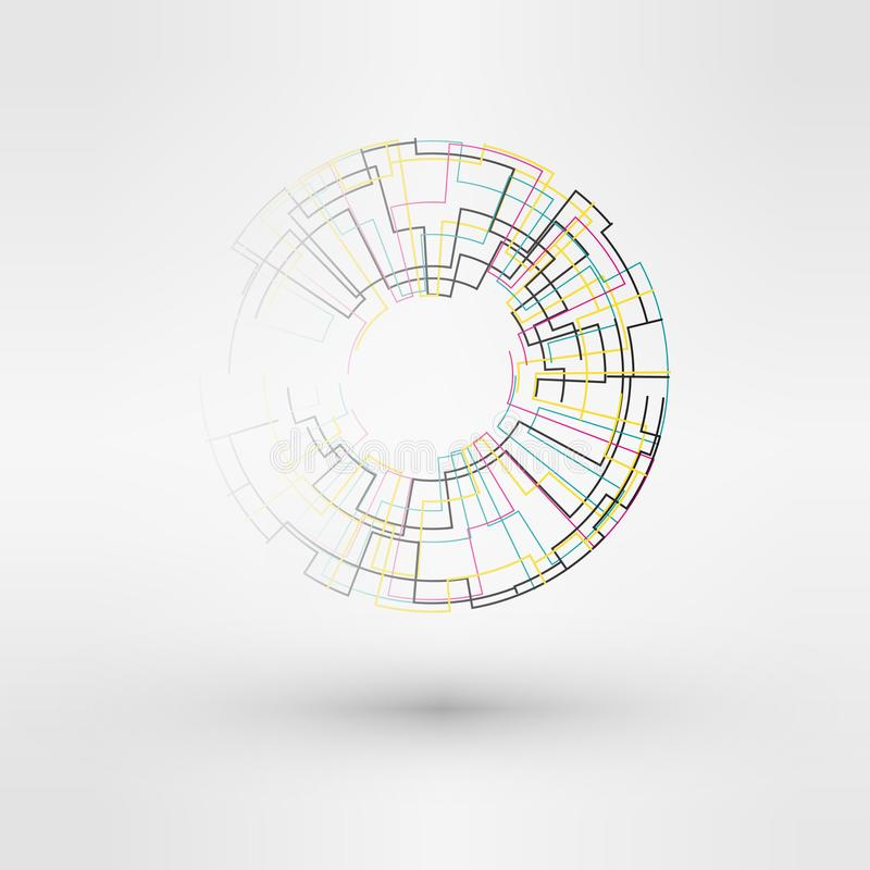 Solsymbol som göras från maktsymboler För logodesign för sol- energi begrepp Idérik teckenmall royaltyfri illustrationer