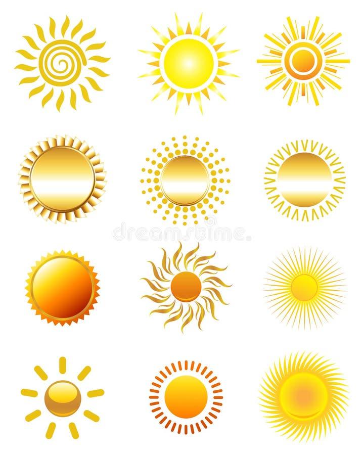 Solsymboler royaltyfri illustrationer