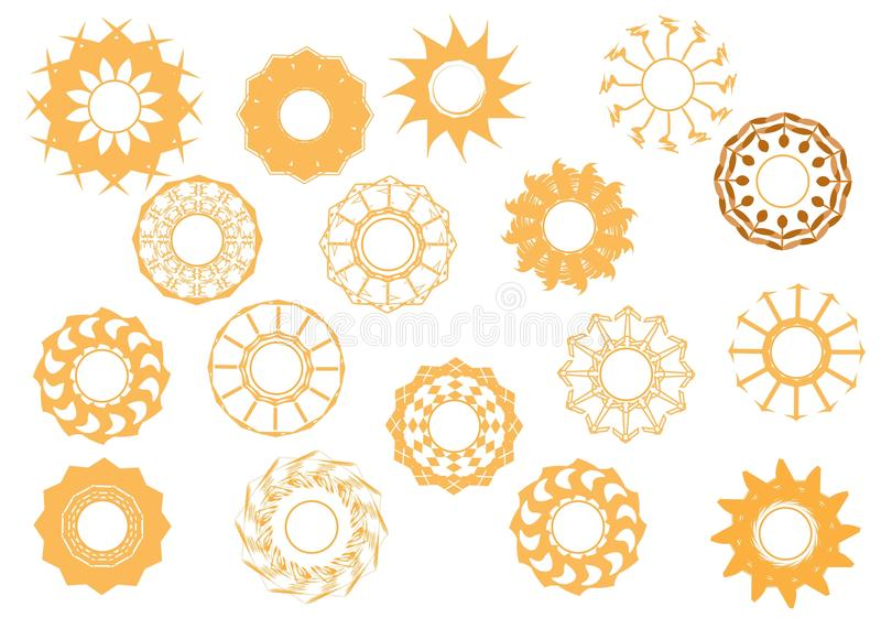 Solsymbolsuppsättning II royaltyfri illustrationer