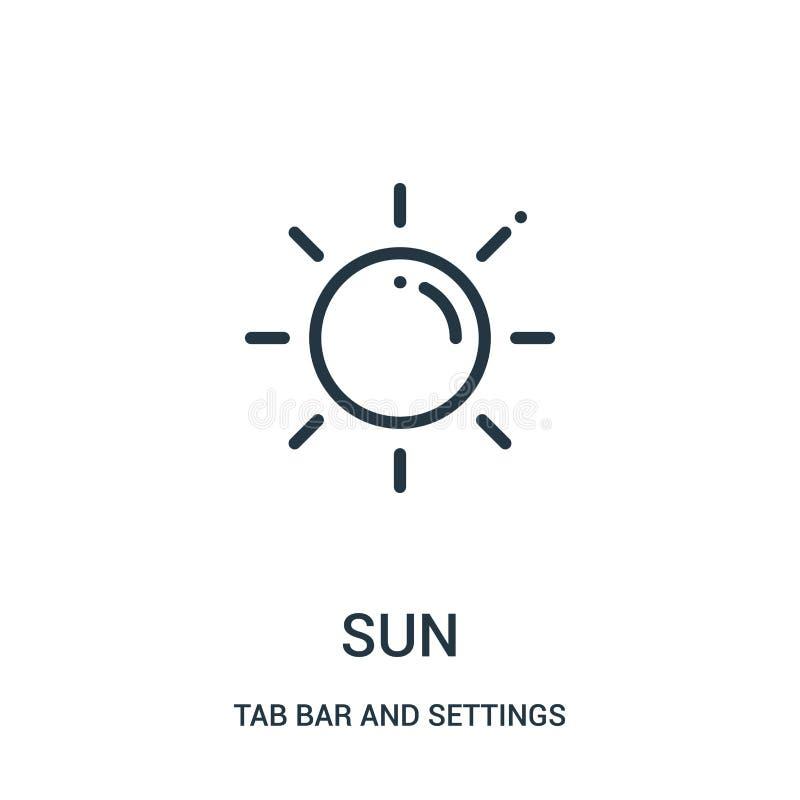solsymbolsvektor från flikstång och inställningssamling Tunn linje illustration för vektor för solöversiktssymbol vektor illustrationer