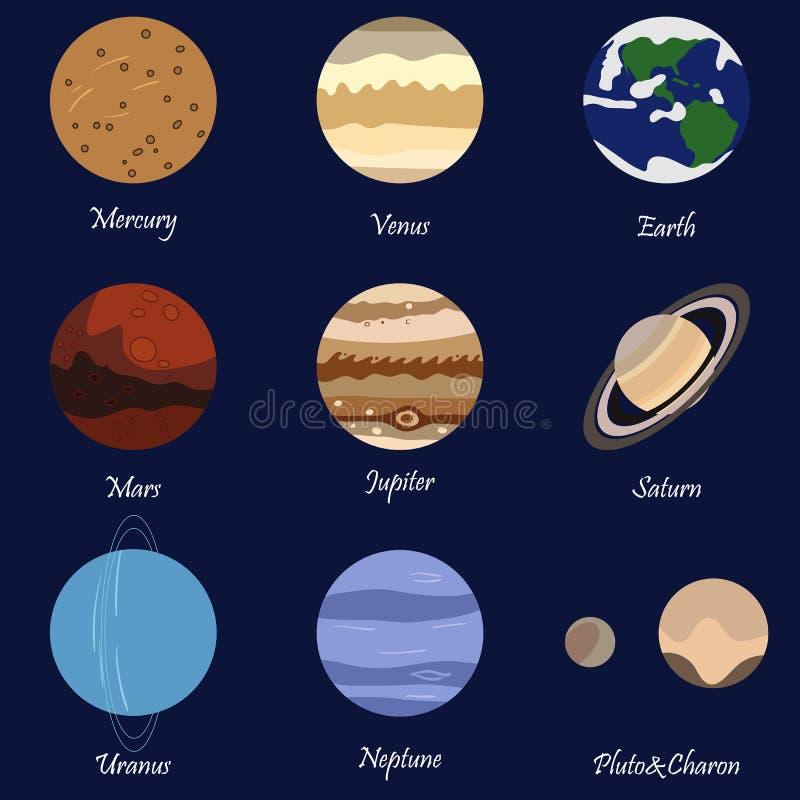 Solsystemplaneter vektor illustrationer