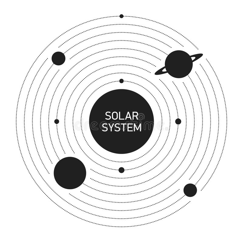 Solsystemplaneter stock illustrationer