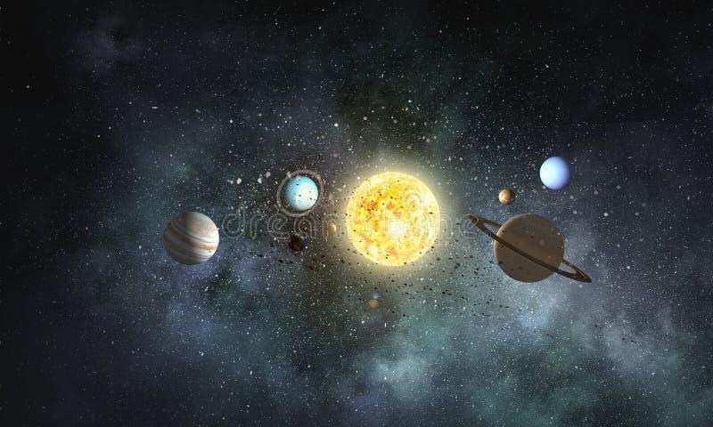Solsystemplaneter Blandat massmedia royaltyfria bilder