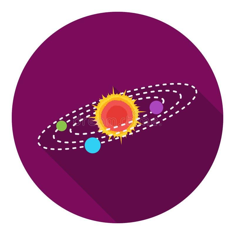 Solsystemsymbol i plan stil på vit bakgrund Illustration för vektor för utrymmesymbolmateriel stock illustrationer