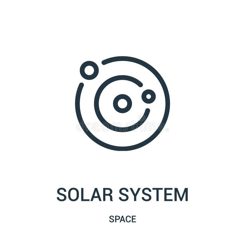 solsystemsymbolsvektor från utrymmesamling Tunn linje illustration för vektor för symbol för solsystemöversikt royaltyfri illustrationer