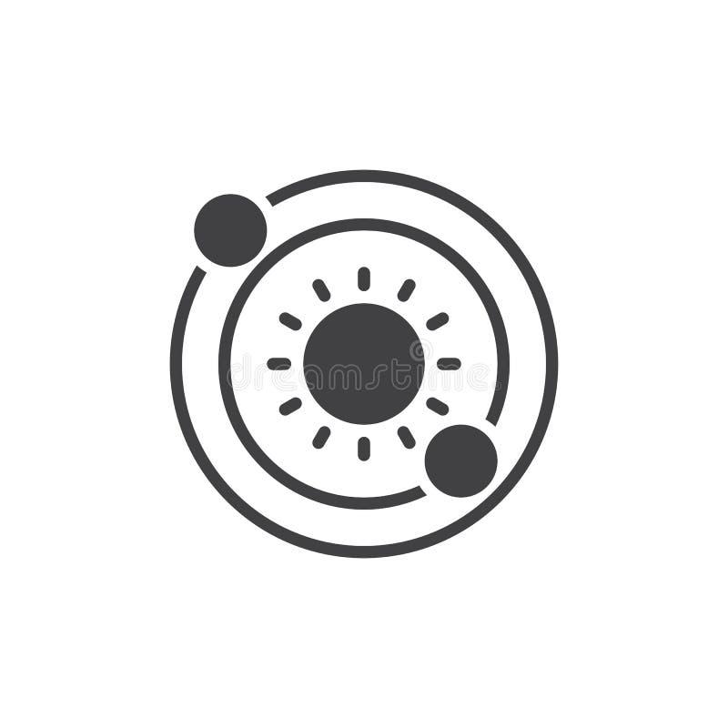 Solsystemsymbolsvektor, fyllt plant tecken, fast pictogram som isoleras på vit vektor illustrationer