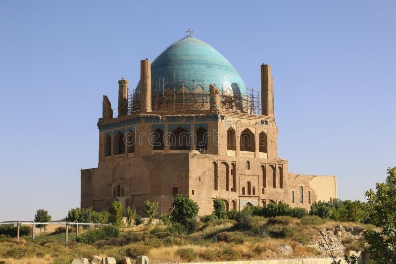 Soltaniyeh圆顶是一个古老陵墓在Zanjan市, Ira附近 库存照片