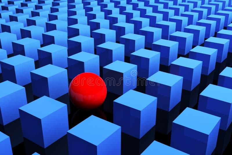 Soltanto un colore rosso nel gruppo. Concetto di individualità. 3d. illustrazione di stock