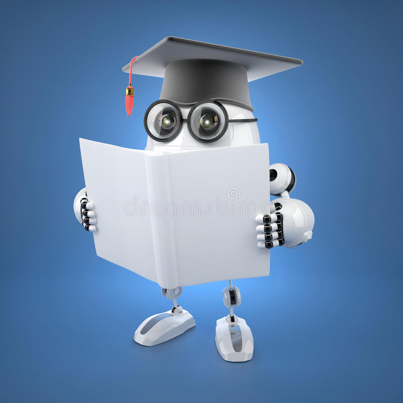 Soltero del robot con el libro en blanco libre illustration