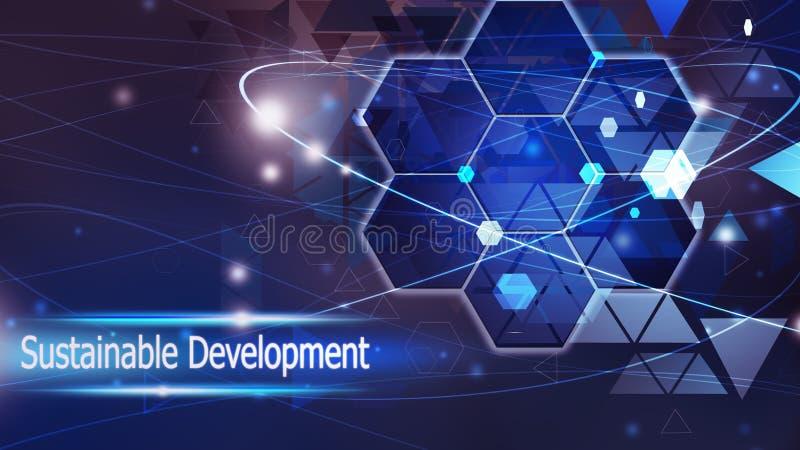 Solução azul do conceito do sumário do fundo do desenvolvimento sustentável ilustração royalty free