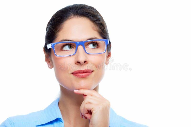 Solução de pensamento da mulher de negócio imagens de stock