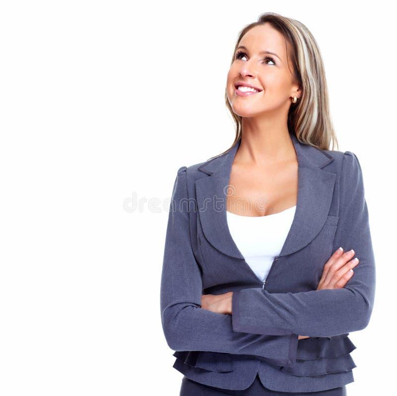 Solução de pensamento da mulher de negócio. imagens de stock