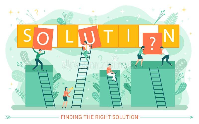 Solução de problema de negócio, trabalhadores em escadas ilustração royalty free